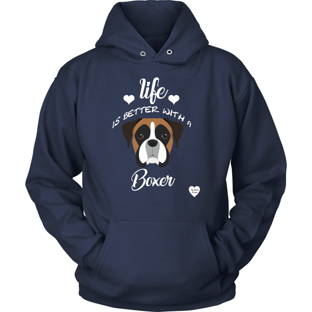 Life Is Better With A Boxer Hoodie Navy
