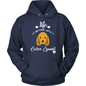 Life Is Better With A Cocker Spaniel Hoodie Navy