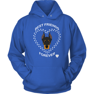 Doberman Best Friends Forever Hoodie Royal Blue