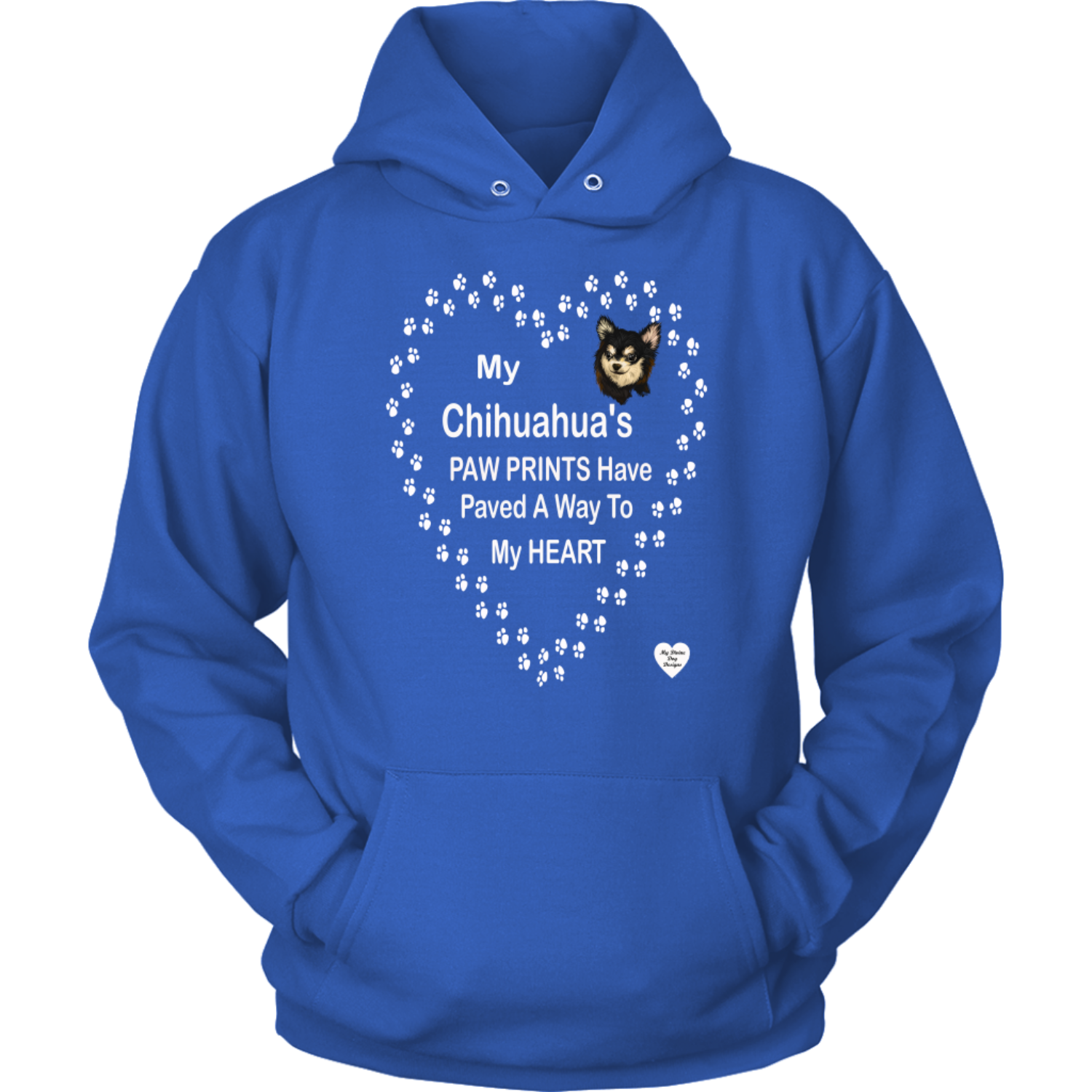 My Chihuahua's Paw Prints - Black - Hoodie Royal Blue