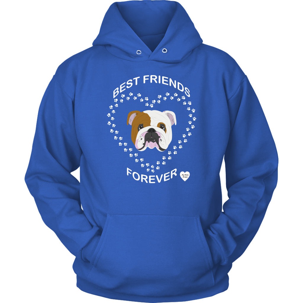 English Bulldog Best Friends Forever Hoodie Royal Blue