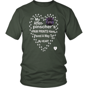 My Affenpinscher Paw Prints T-Shirt Olive