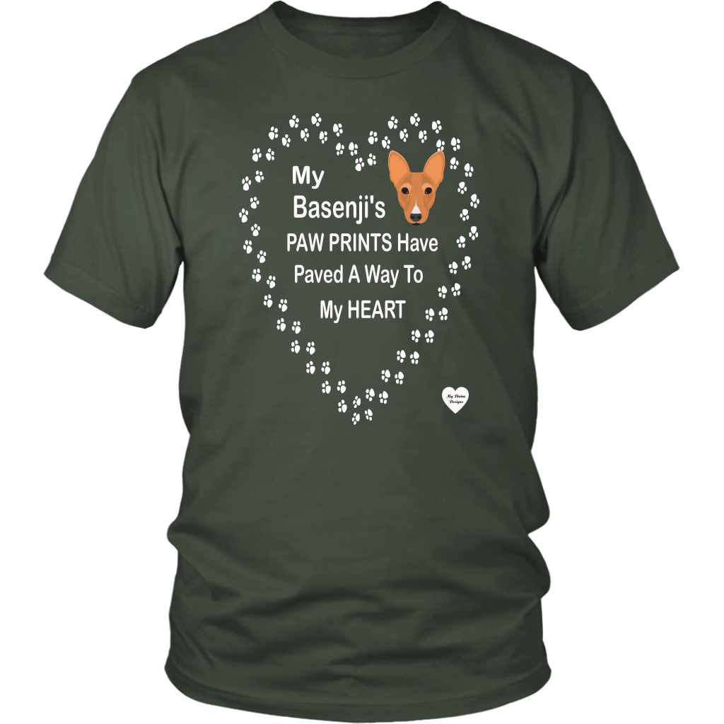 Basenji's Paw Prints To My Heart T-Shirt Olive