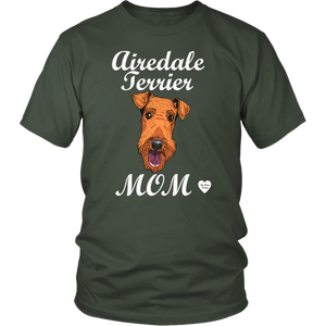 airedale terrier mom t-shirt olive