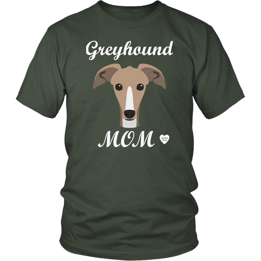 greyhound mom olive t-shirt