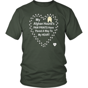 My Afghan Hound's Paw Prints T-Shirt Olive