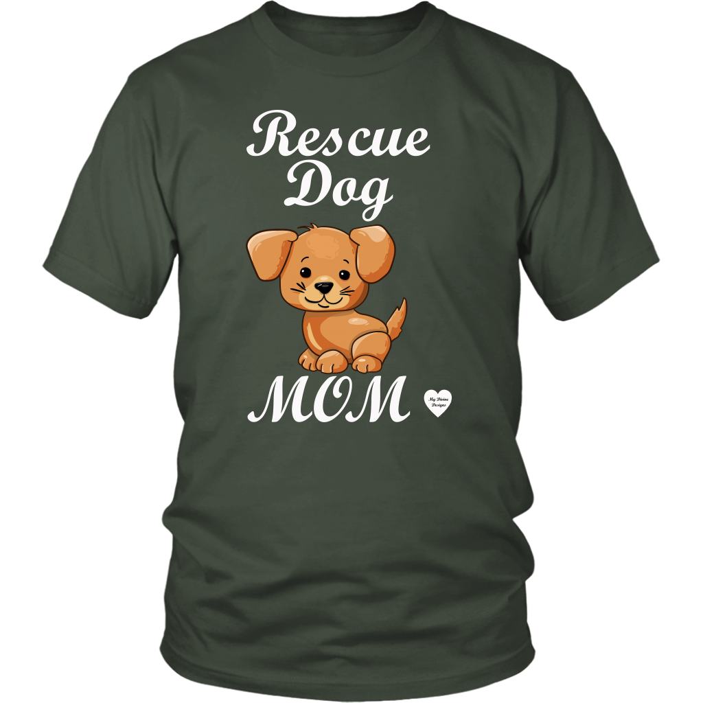 rescue dog mom t-shirt olive