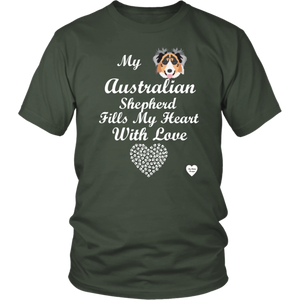 australian shepherd fills my heart t-shirt olive