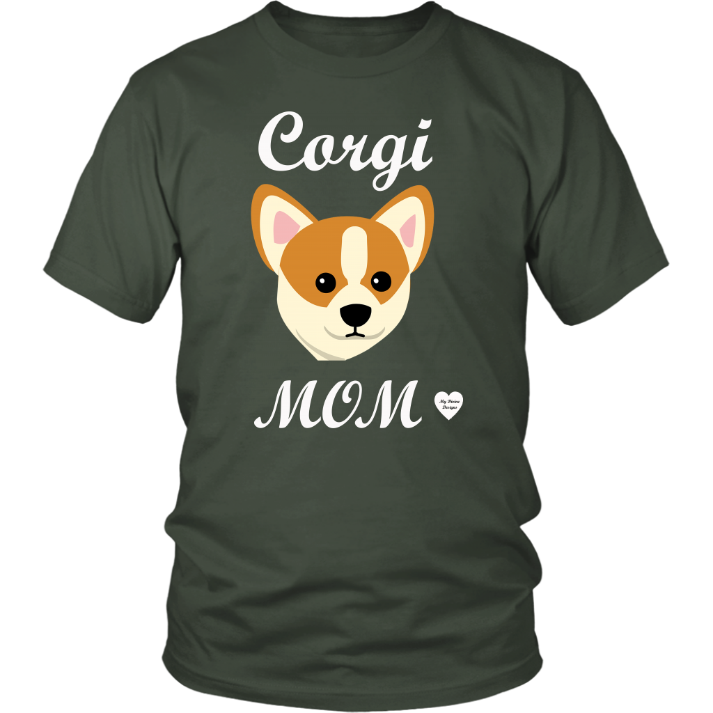 corgi mom olive t-shirt
