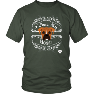 I Love My Boxer T-Shirt Olive