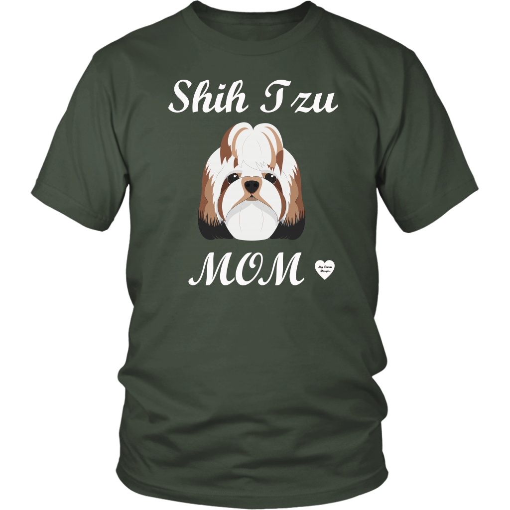 shih tzu mom t-shirt olive