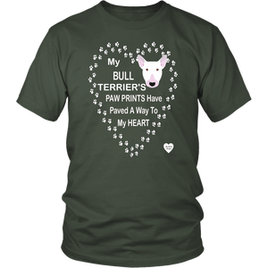 Bull Terrier Paw Prints T-Shirt Olive