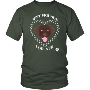 Chocolate Lab Best Friends Forever T-Shirt Olive