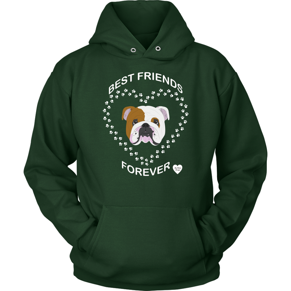 English Bulldog Best Friends Forever Hoodie Dark Green