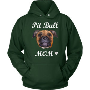 Pit Bull Mom Tan Hoodie Dark Green