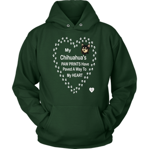 My Chihuahua's Paw Prints - Black -Hoodie Dark Green