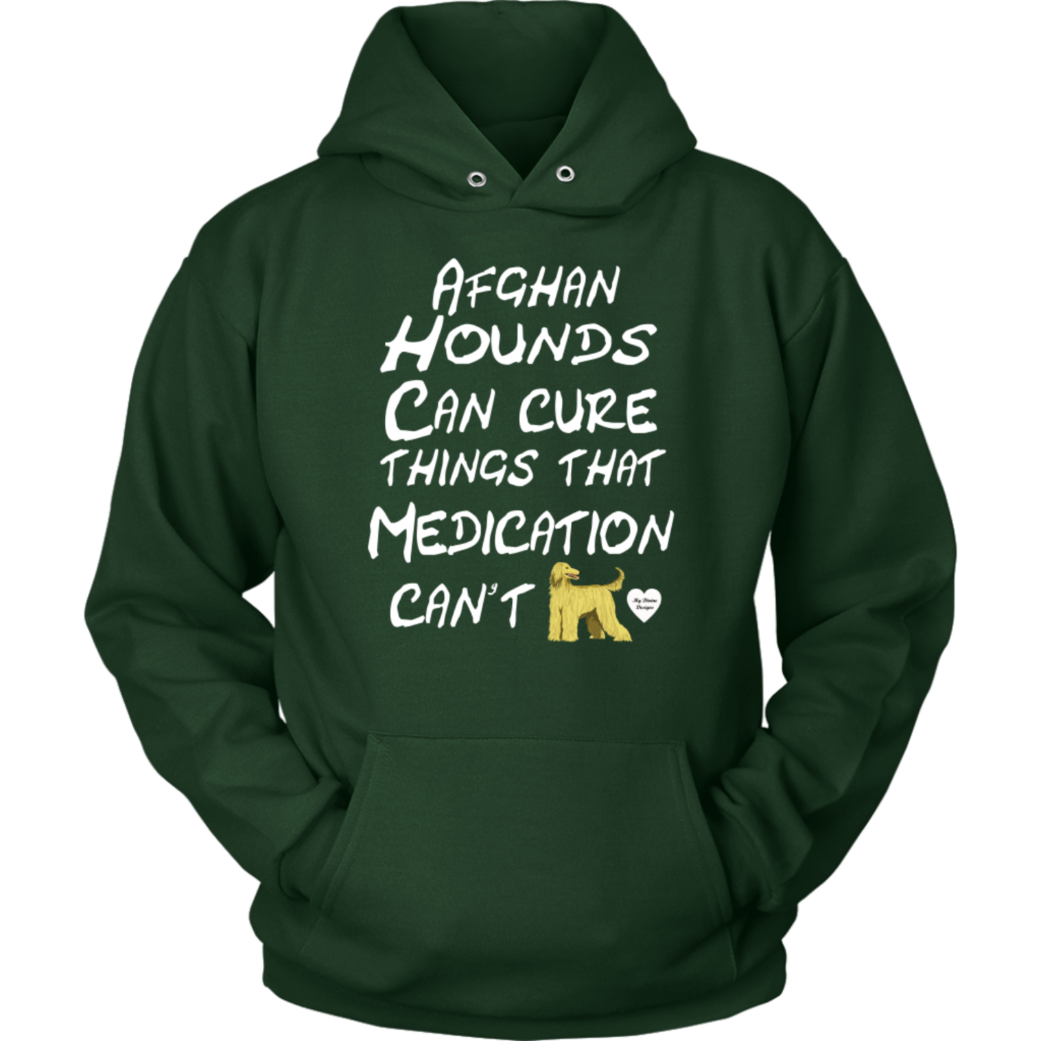 Afghan Hound Can Cure Hoodie Dark Green