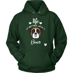 Life Is Better With A Boxer Hoodie Dark Green