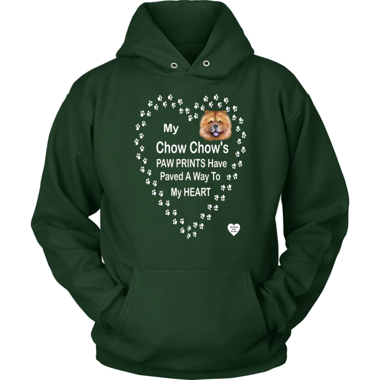 My Chow Chow's Paw Prints - Tan - Hoodie Dark Green