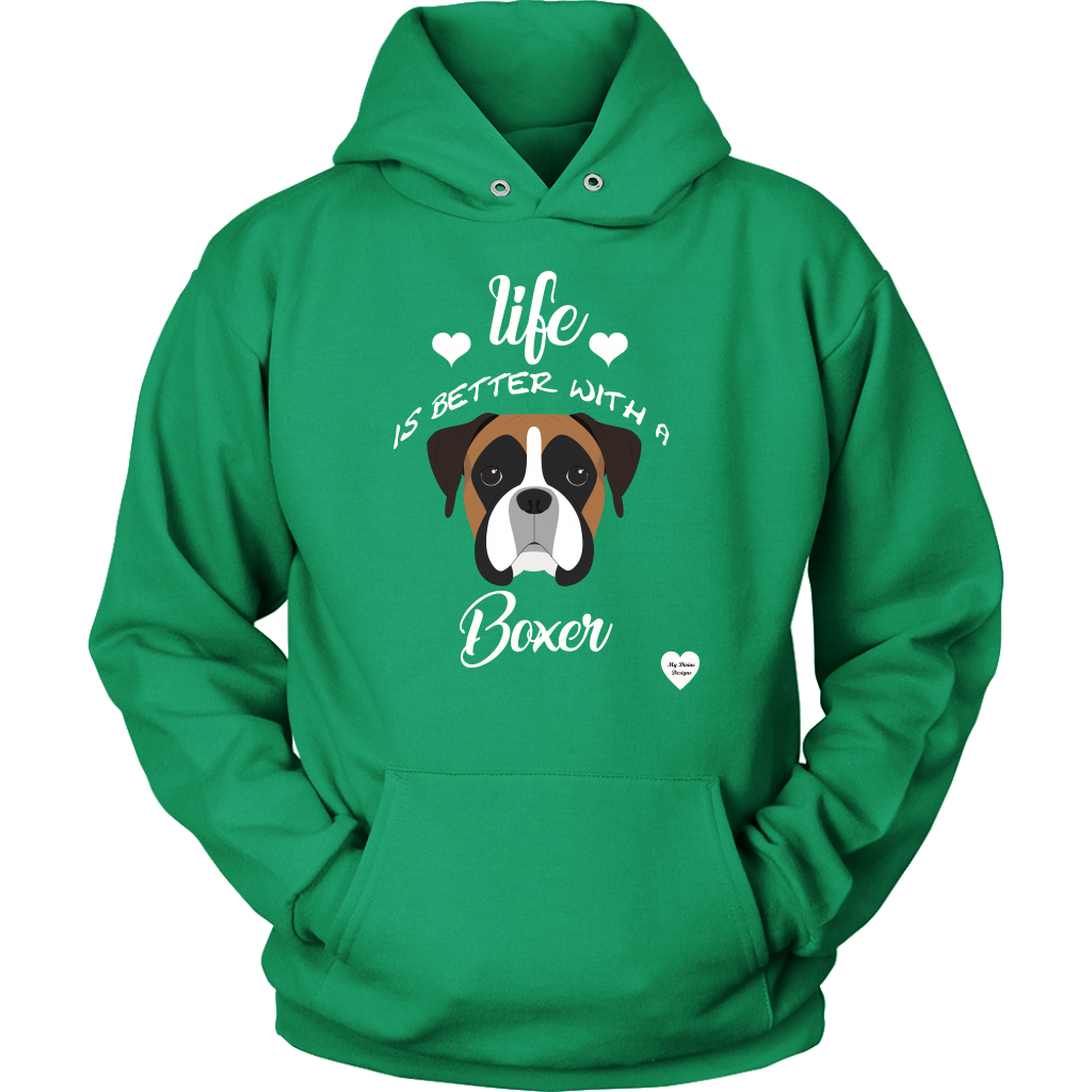 Life Is Better With A Boxer Hoodie Kelly Green