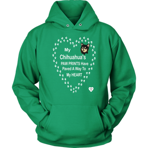 My Chihuahua's Paw Prints - Black - Hoodie Kelly Green