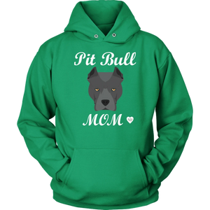 Pit Bull Mom Black Hoodie Dark Green