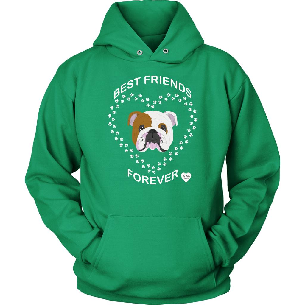English Bulldog Best Friends Forever Hoodie Kelly Green