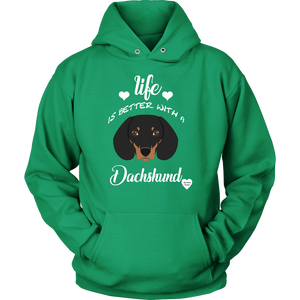 Life Is Better With A Dachshund Hoodie Kelly Green