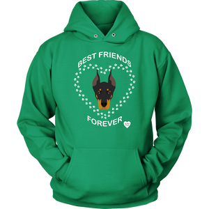 Doberman Best Friends Forever Hoodie Kelly Green