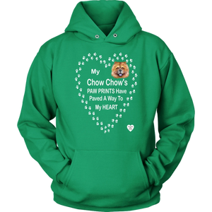 My Chow Chow's Paw Prints - Tan - Hoodie Kelly Green