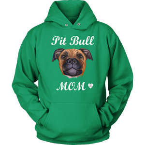Pit Bull Mom Tan Hoodie Kelly Green