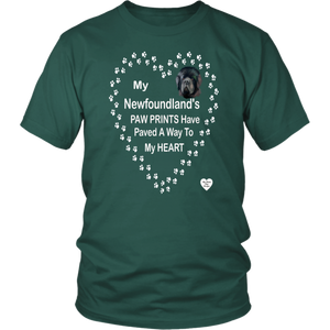 My Newfoundland's Paw Prints T-Shirt Dark Green