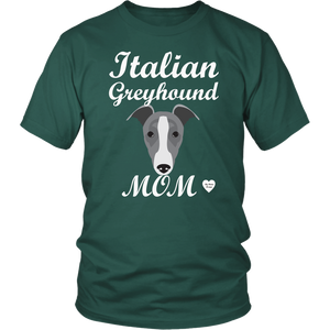 italian greyhound mom dark green t-shirt