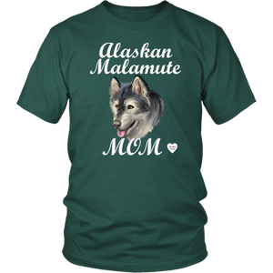 Alaskan Malamute Mom T-Shirt Dark Green