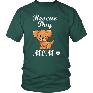 rescue dog mom t-shirt dark green