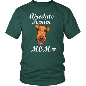 airedale terrier mom t-shirt dark green