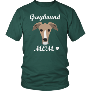 greyhound mom dark green t-shirt