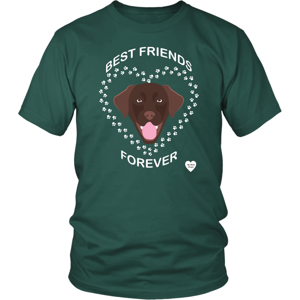 Chocolate Lab Best Friends Forever T-Shirt Dark Green