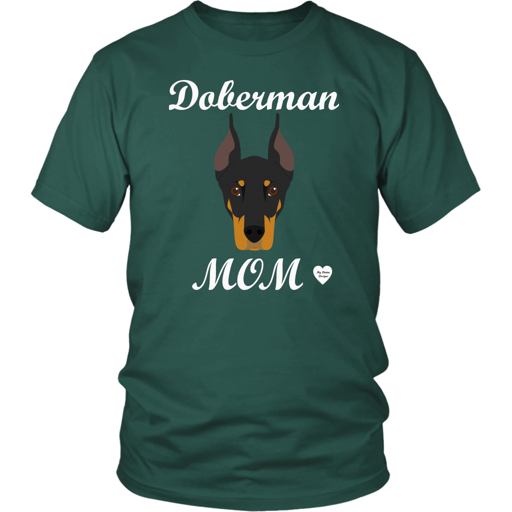 doberman mom dark green t-shirt