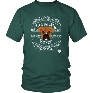 I Love My Boxer T-Shirt Dark Green