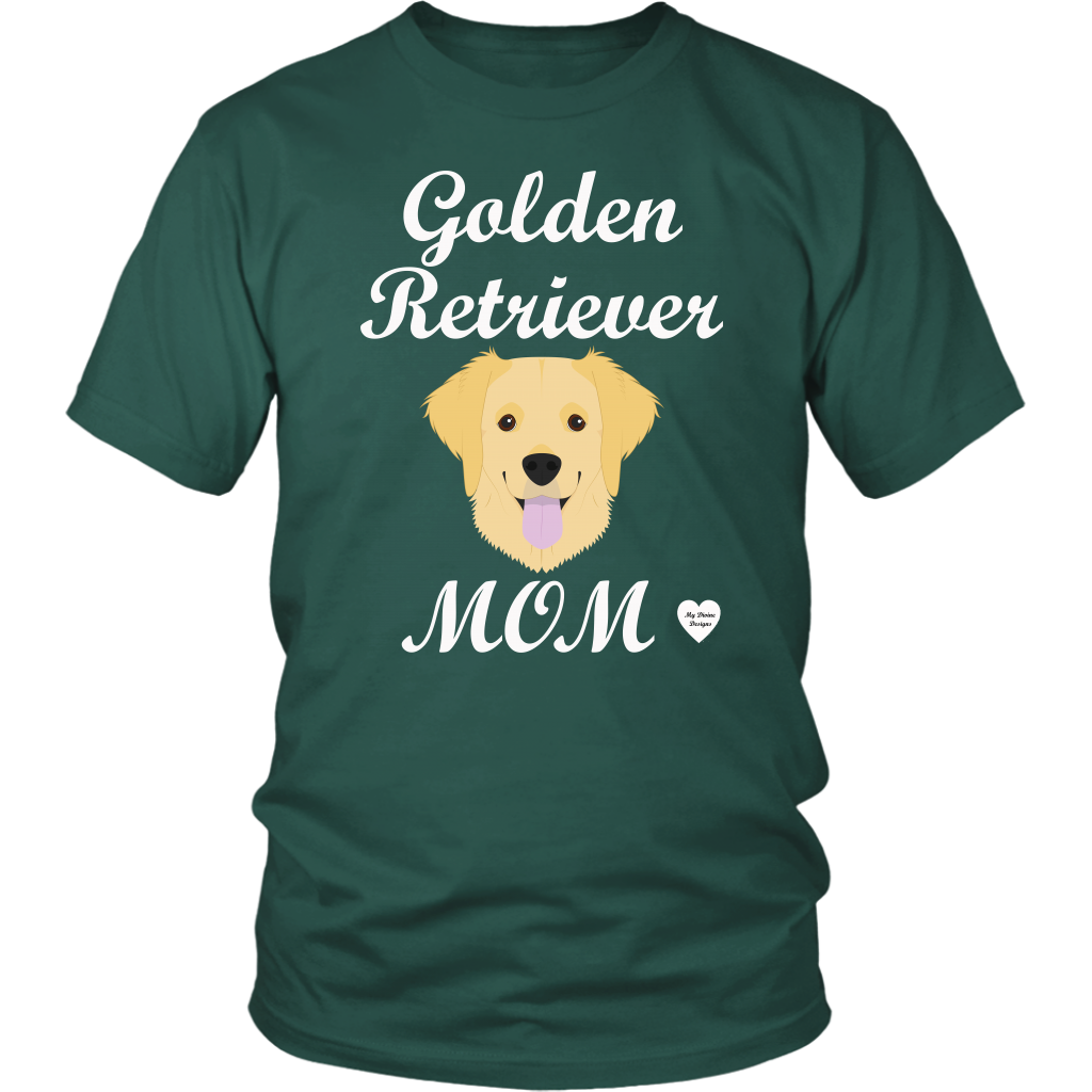 golden retriever mom dark green t-shirt