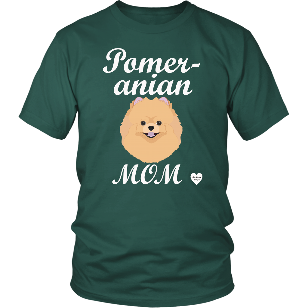 pomeranian mom t-shirt dark green