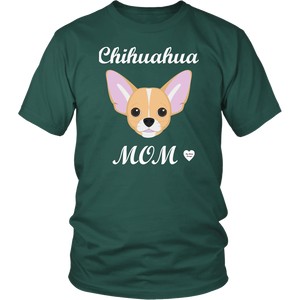 chihuahua mom dark green t-shirt