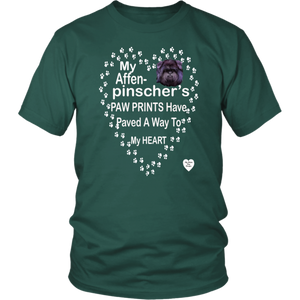 My Affenpinscher Paw Prints T-Shirt Dark Green