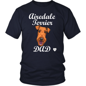 Airedale Terrier Dad T-Shirt Navy