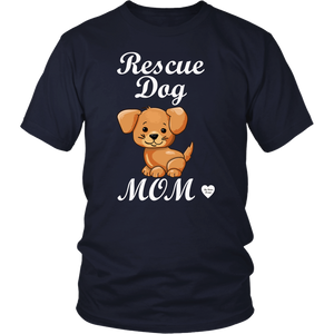 rescue dog mom t-shirt navy