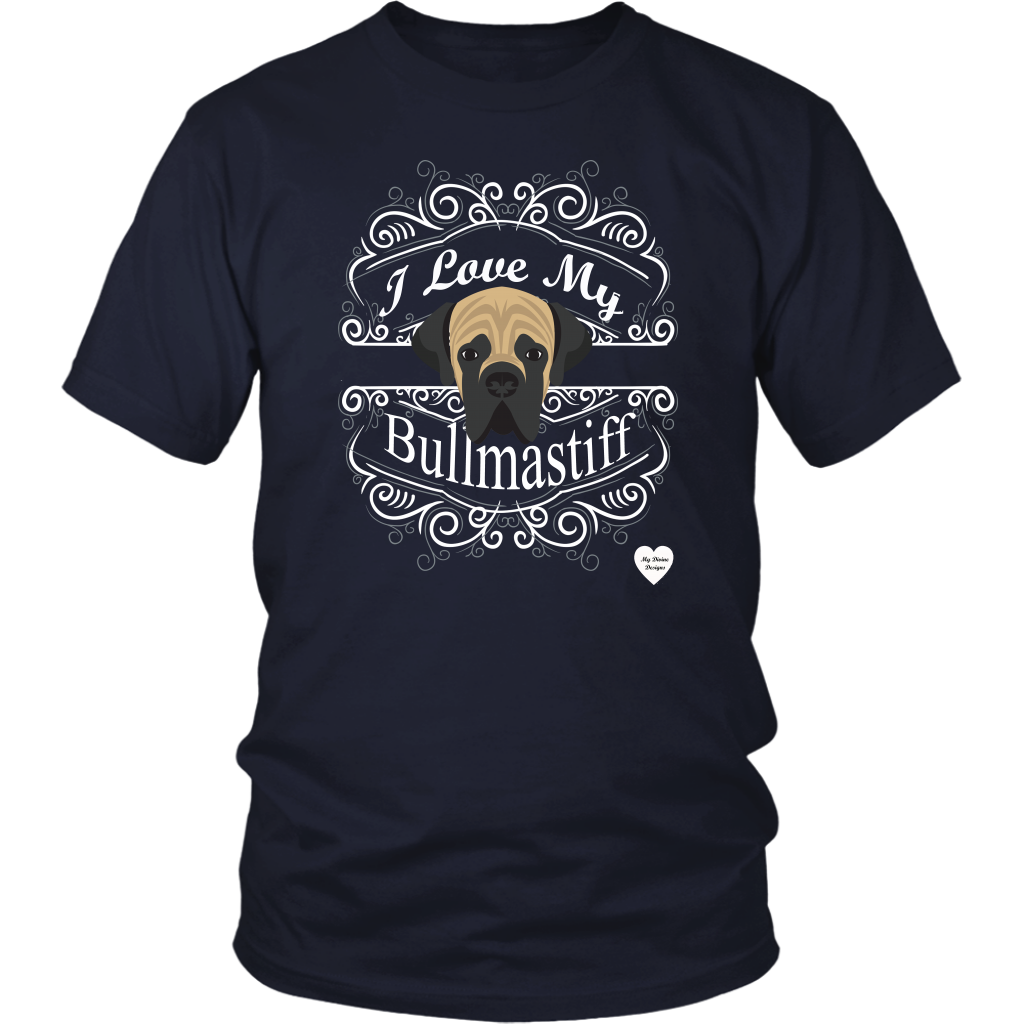 I Love My Bullmastiff T-Shirt Navy