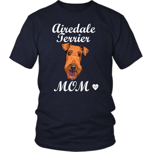 airedale terrier mom t-shirt navy