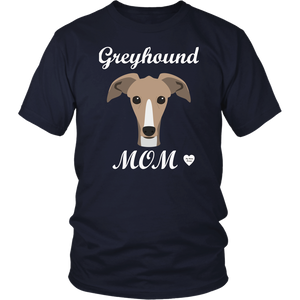 greyhound mom navy t-shirt