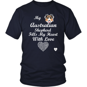 australian shepherd fills my heart t-shirt navy